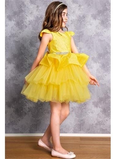 Riccotarz Kız Çocuk Kabarık Beli Pul Şeritli Fiyonklu Abiye Sarı